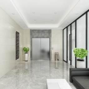 现代公司电梯间3D模型【ID:951025531】