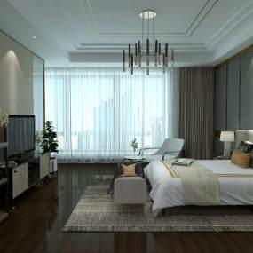 现代卧室3D模型【ID:534816247】