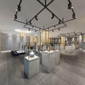 现代陶瓷文物展厅3D模型【ID:934679744】