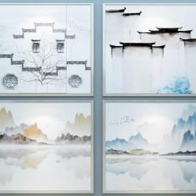 新中式墙饰墙绘3D模型【ID:235777789】