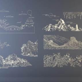 新中式墙饰 山水 花鸟 长城 3D模型【ID:241393729】