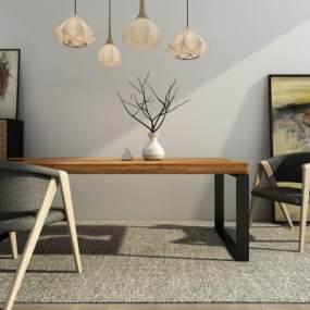 北欧餐桌椅组合3D模型【ID:833510841】