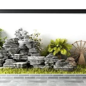 新中式园林景观假山风车植物盆栽组合3D模型【ID:135766414】