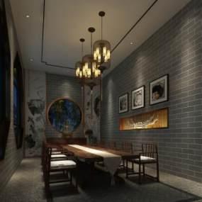 中式餐厅 3D模型【ID:641279240】