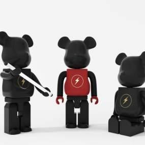 现代小熊雕塑摆件3D模型【ID:353399198】