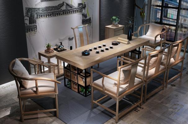 新中式实木茶桌椅组合3D模型【ID:735274772】