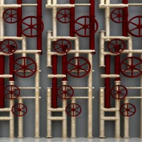 工业风消防管装饰品组合3D模型【ID:230609502】