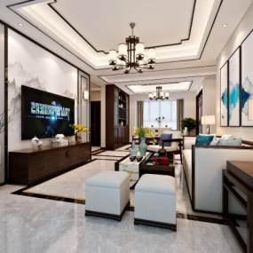 新中式客廳3D模型【ID:534779071】