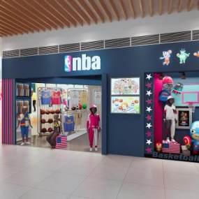 现代儿童运动服装店橱窗 3D模型【ID:142063054】
