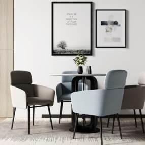 北歐餐桌椅組合3D模型【ID:850256896】