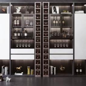 现代风格酒柜装饰柜3D模型【ID:143326105】