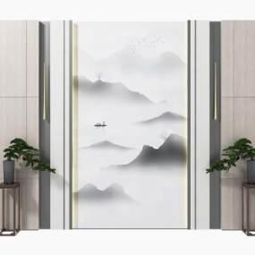 新中式背景墻組合3D模型【ID:248514705】
