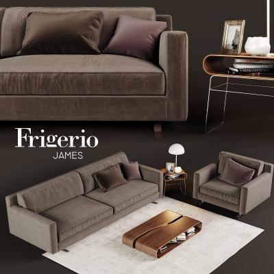 現代棕色布制沙發國外3D模型【ID:632030731】