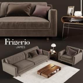 现代棕色布制沙发国外3D模型【ID:632030731】