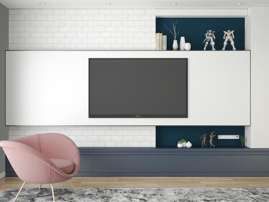 现代电视柜 电视背景墙 摆件