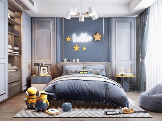 北欧风格儿童房 床 衣柜