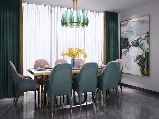 ��W餐桌椅吊�簟饨M合3D模型【ID:842086889】