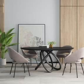 现代圆形餐桌3D模型【ID:745638175】