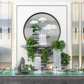 新中式假山水景绿植组合3D模型【ID:132671401】