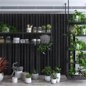 现代绿植盆栽花架组合3D模型【ID:247105883】