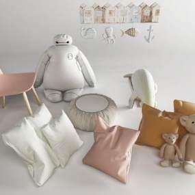 现代抱枕3D模型【ID:352699460】