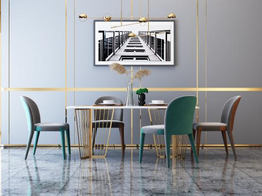 后现代餐桌椅吊灯3D模型【ID:546577150】