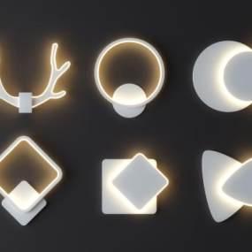 北欧几何壁灯组合3D模型【ID:745634988】