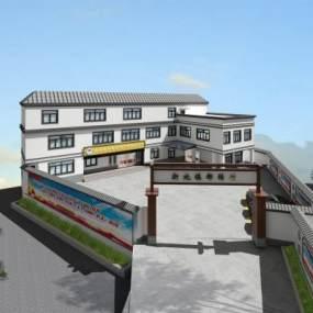 现代村委会办公楼外立面3D模型【ID:133207985】