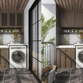 现代阳台洗衣机装饰柜摆件组合3D模型【ID:532813625】