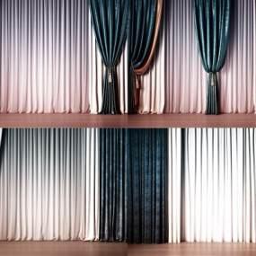 现代丝绸布艺窗帘组合3D模型【ID:233661626】