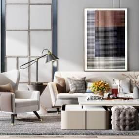 现代沙发组合3D模型【ID:650668787】