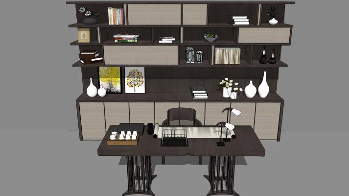 新中式书桌书柜组合SU模型【ID:645996784】