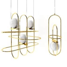 現代時尚簡約金屬吊燈3D模型【ID:752603819】