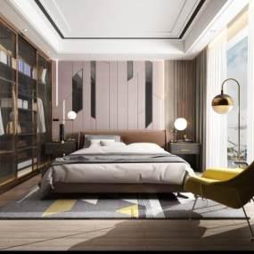 现代简约卧室3D模型【ID:535928218】