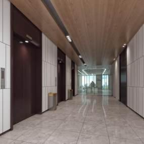现代简约写实电梯间3D模型【ID:933288542】