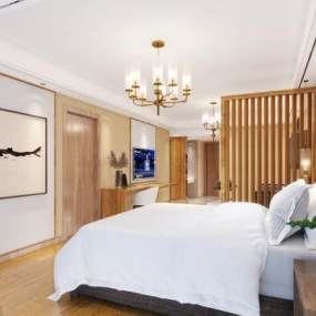 新中式酒店客房3D模型【ID:743409300】