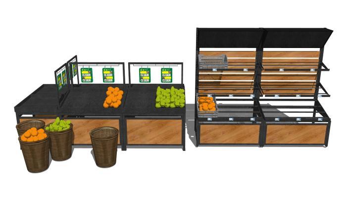 现代超市蔬菜水果货架组合SU模型【ID:748563302】