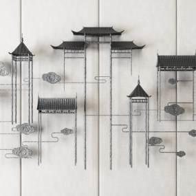 新中式铁艺墙面装饰壁饰3D模型【ID:235471727】
