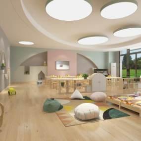 现代幼儿园教室3D模型【ID:950275607】