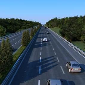 现代高速公路车道树木汽车3D模型【ID:932497933】