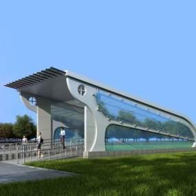 现代地下地铁车站出入口通道3D模型【ID:135953908】