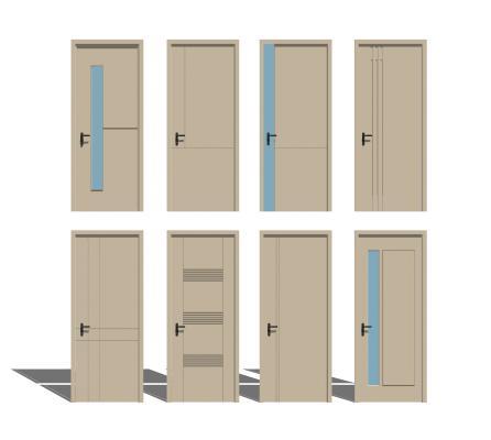 现代卧室单开门组合SU模型【ID:247881309】