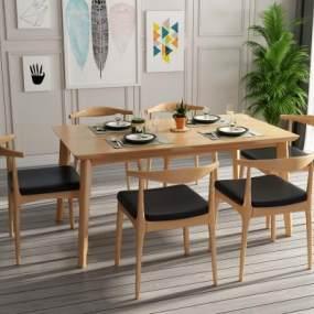 北欧原木色实木餐桌椅组合3D模型【ID:853161873】