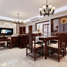 傳統中式客餐廳3D模型【ID:534500093】