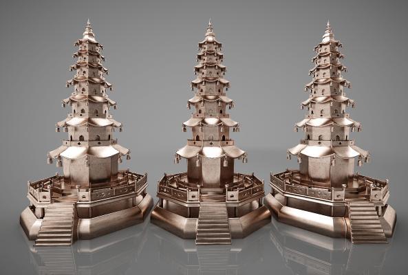 新中式風格裝飾品3D模型【ID:343296680】