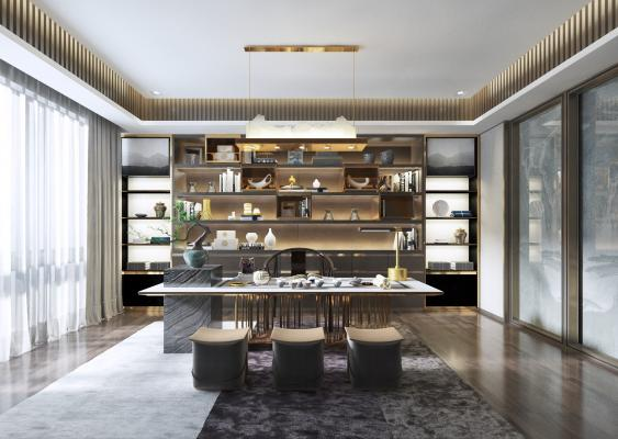 新中式書房茶室3D模型【ID:640959172】