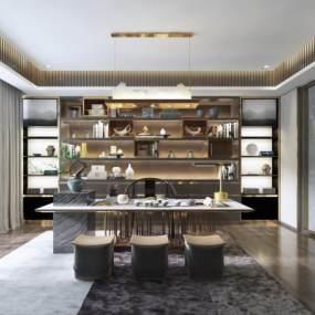 新中式书房茶室 3D模型【ID:640959172】
