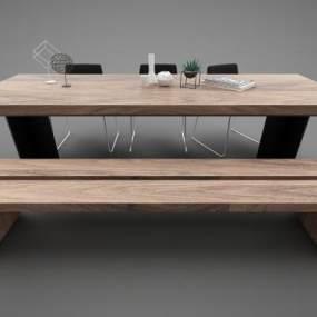现代风格餐桌3D模型【ID:852622857】