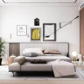 现代卧室3D模型【ID:553418243】