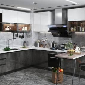 现代风格厨房3D模型【ID:550821393】